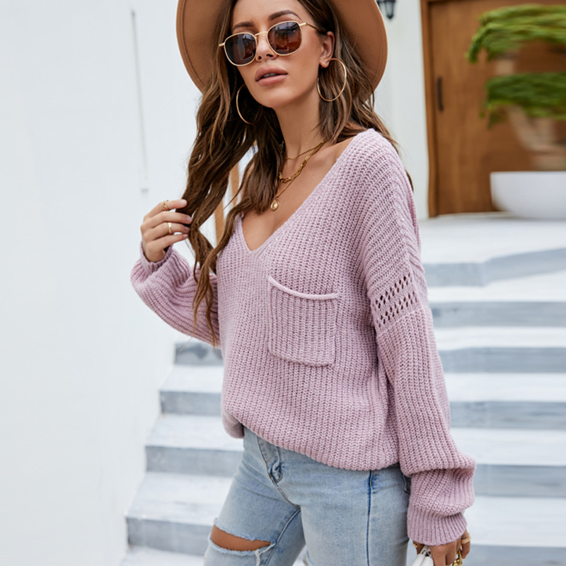 Women V Neck Pure Color Loose Knitted Pullover Sweater