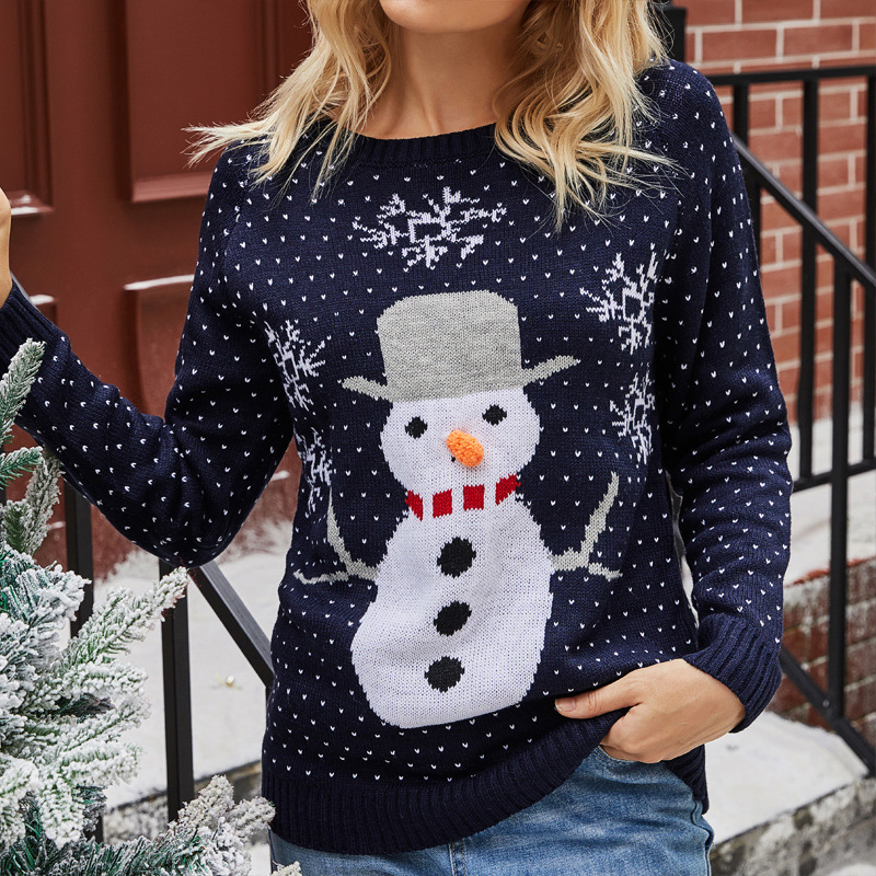 Women Christmas Snowman Snowflake Hearts knitted Pullover Sweater