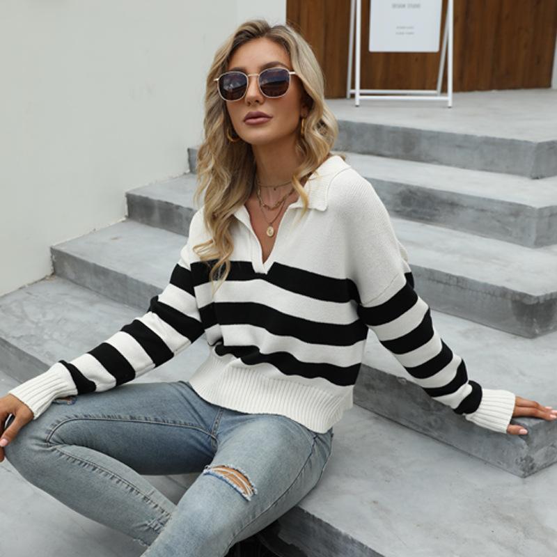 Women V NeckStriped Knitted Pullover Sweater Tops
