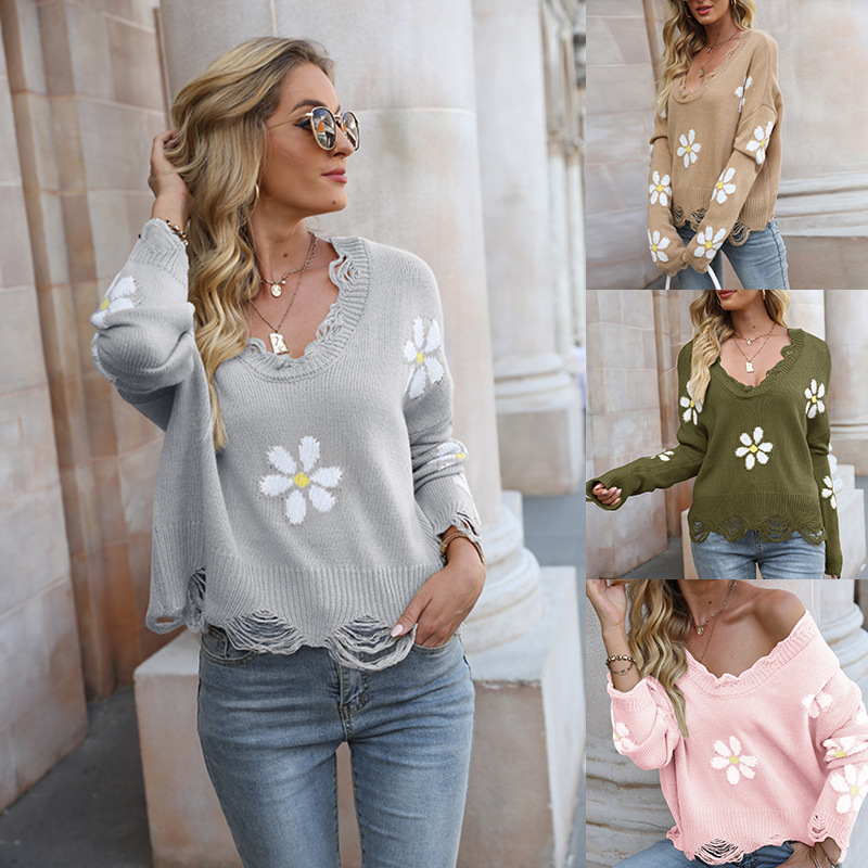 Women Flowers V Neck Loose Knitted Pullover Sweater Tops