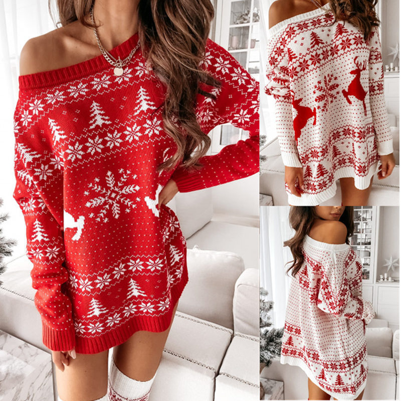 Women Ugly Christmas Snowflakes Trees Jacquard Loose Knitted Sweater