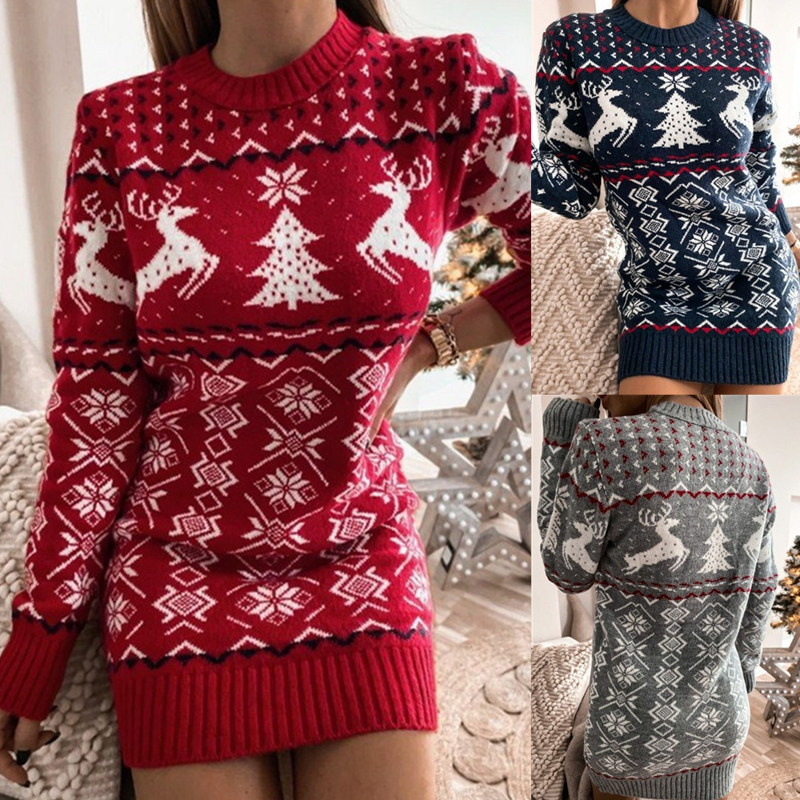 Women Ugly Christmas Snowflakes Jacquard Knitted Sweater Dress