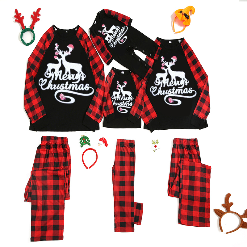 Christmas Family Matching Sleepwear Pajamas Merry Christmas Deer Top and Red Plaid Pant With Dog Cloth