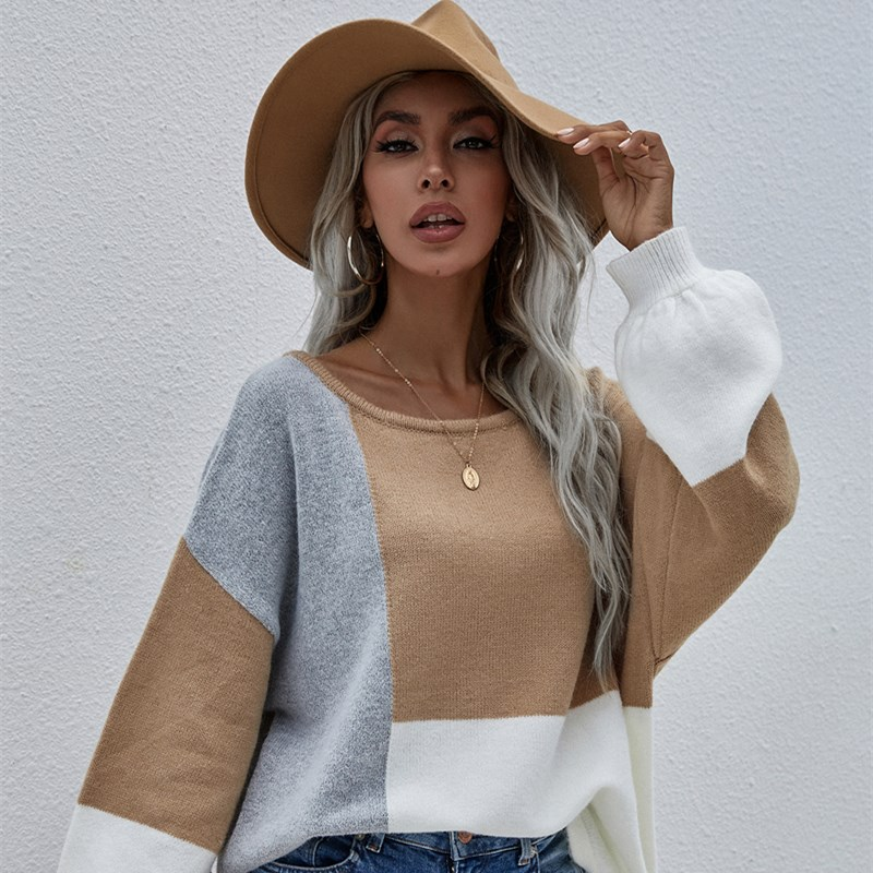 Women Round Neck Pullover With Back Tie Solid Color Knitted Stitching Sweater