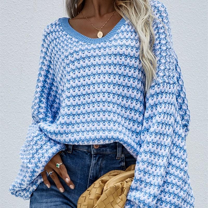 Women Casual V Neck Loose Off Shoulder Sweater