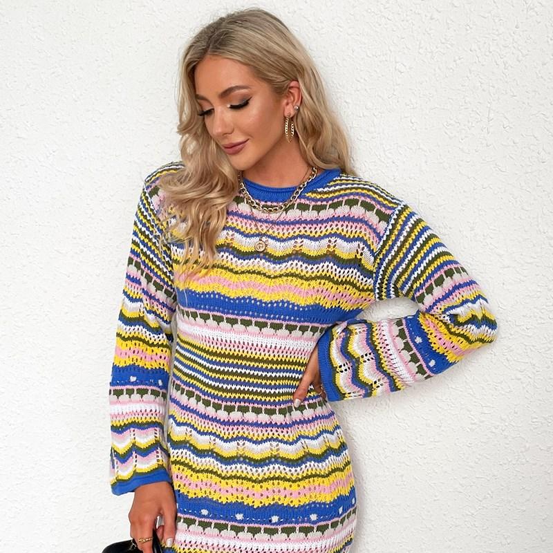 Women Sweater Rainbow Stripe Pullover Mid-Length Sweater