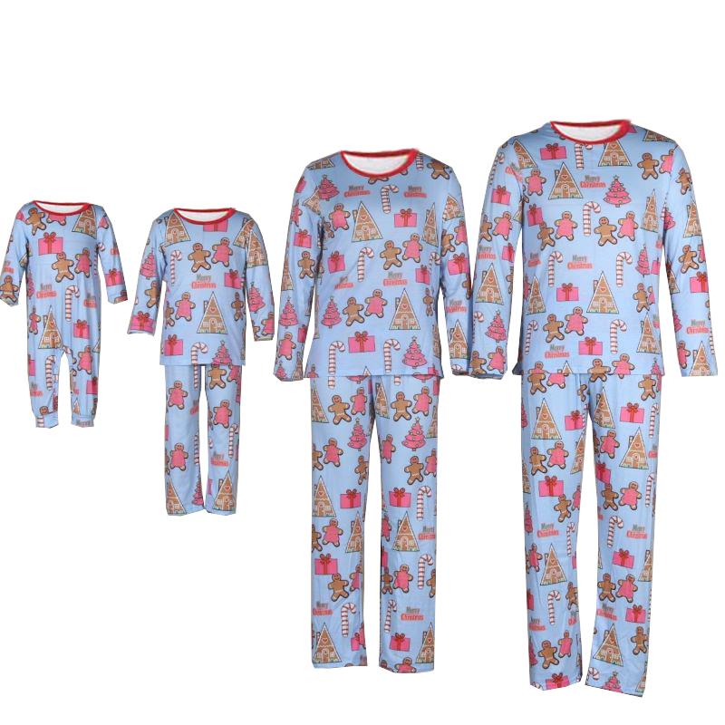 Christmas Family Matching Sleepwear Pajamas Tree Gingerbread Cookie Pajamas Sets With Dog Cloth