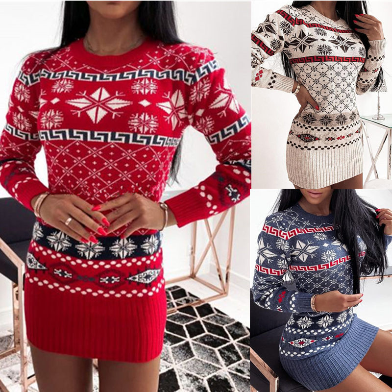 Women Christmas Printed Rhombic Knitted Dress