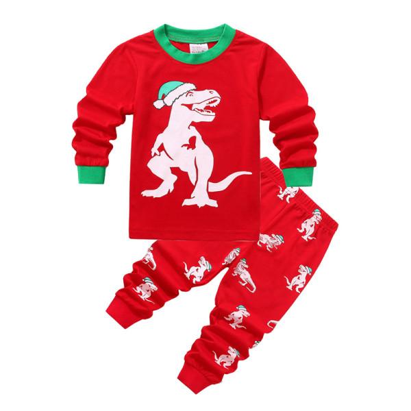 Toddler Kids Boys and Girls Christmas Pajamas Sets Red Christmas Hat Dinosaur Top And Pants