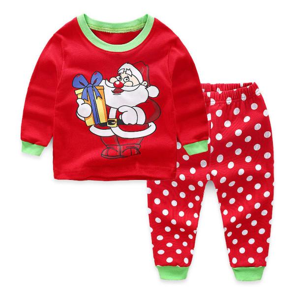Toddler Kids Boys and Girls Christmas Pajamas Sets Santa Top And Polka Dot Pants