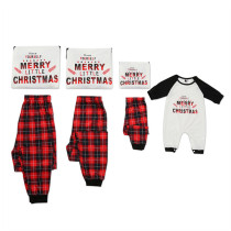 Christmas Family Matching Pajamas Merry Christmas Letter Top and Red Plaid Pants