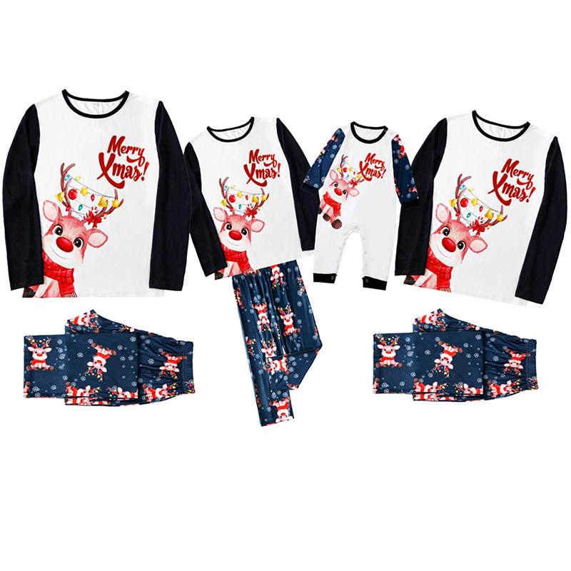 Christmas Family Matching Sleepwear Pajamas Merry Christmas Cute Deer Top and Snowflakes Pant