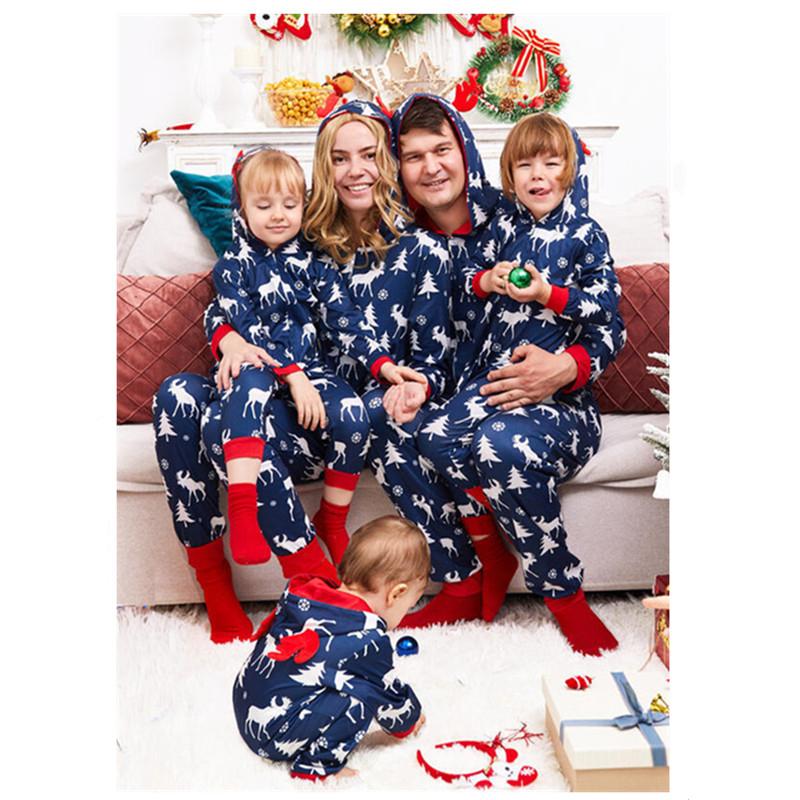 Christmas Family Matching Sleepwear Pajamas Dark Blue Deer Elk Tree Jumpsuit Sets