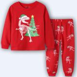 Toddler Kids Boys and Girls Christmas Pajamas Sets Red Christmas Dinosaur Top and Pants