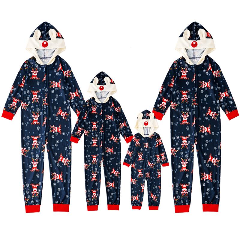 Christmas Family Matching Sleepwear Pajamas Sute Deer Snowflakes Jumpsuits