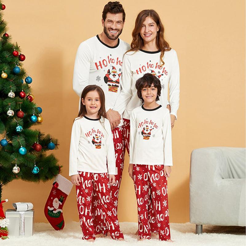 Christmas Family Matching Pajamas Christmas Santa Claus Top and Red Hohoho Pants