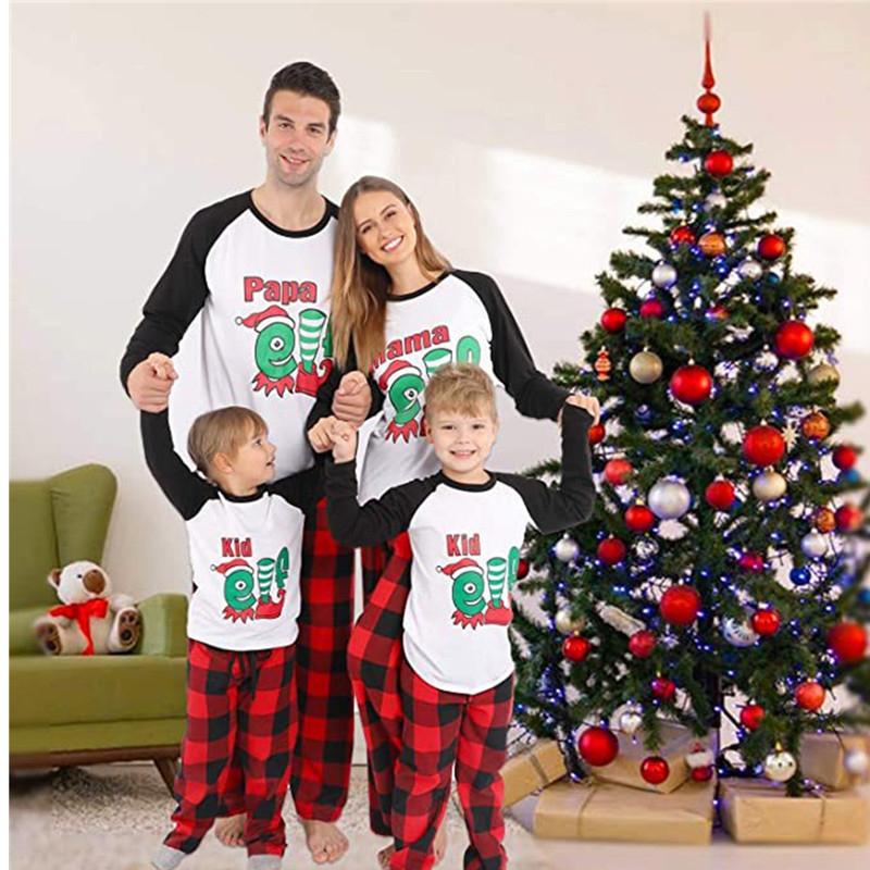 Christmas Family Matching Pajamas Christmas Elf Top and Red Plaids Pant Sets