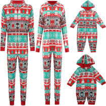 Christmas Family Matching Sleepwear Prints Snowflake Christmas Tree Onesie Jumpsuit Pajamas
