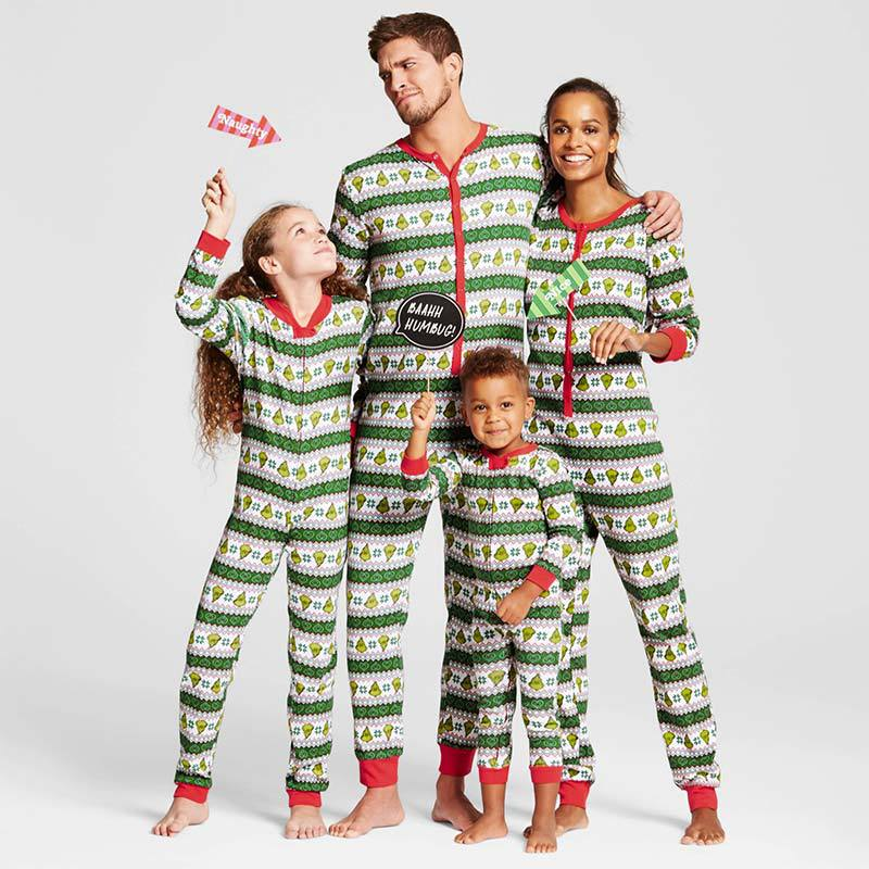 Christmas Family Matching Sleepwear Green Leafs Stripes Onesie Jumpsuit Pajamas