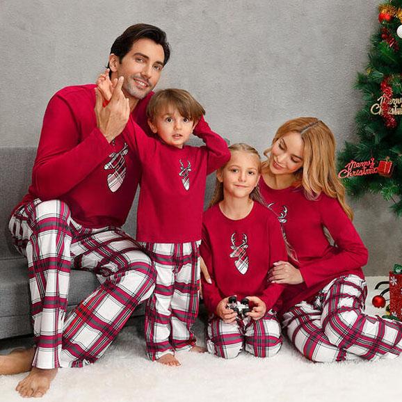 Christmas Family Matching Pajamas Tartan Elk Head Prints Tops and Plaid Pants Family Pajamas Sets