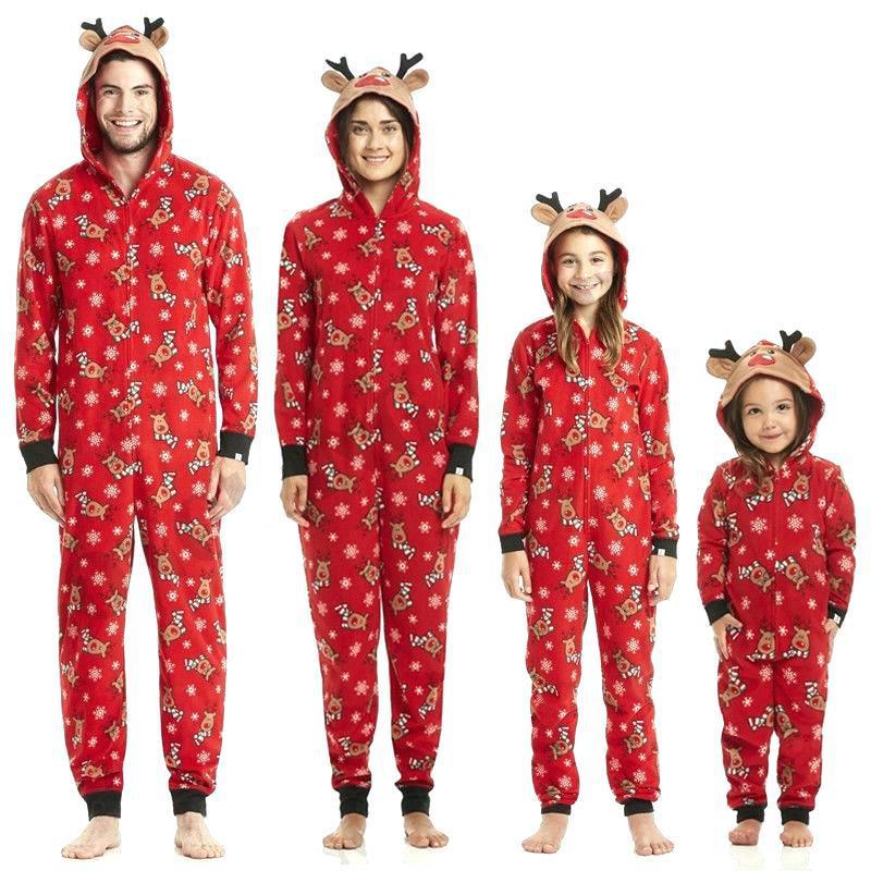 Christmas Family Matching Sleepwear Pajamas Christmas Cute Deer Jumpsuits Sets
