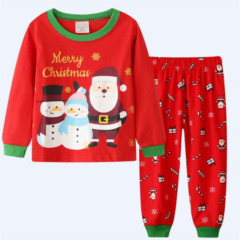 Toddler Kids Boys and Girls Christmas Pajamas Sets Red Santa Claus And Christmas Snowman Top And Pants