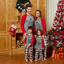 Christmas Family Matching Pajamas Christmas Slogan Beauty Clark Print Top and Red Plaids Pant