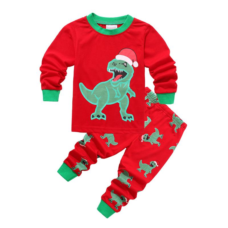 Toddler Kids Boys and Girls Christmas Pajamas Sets Green Christmas Hat Dinosaur Top And Pants