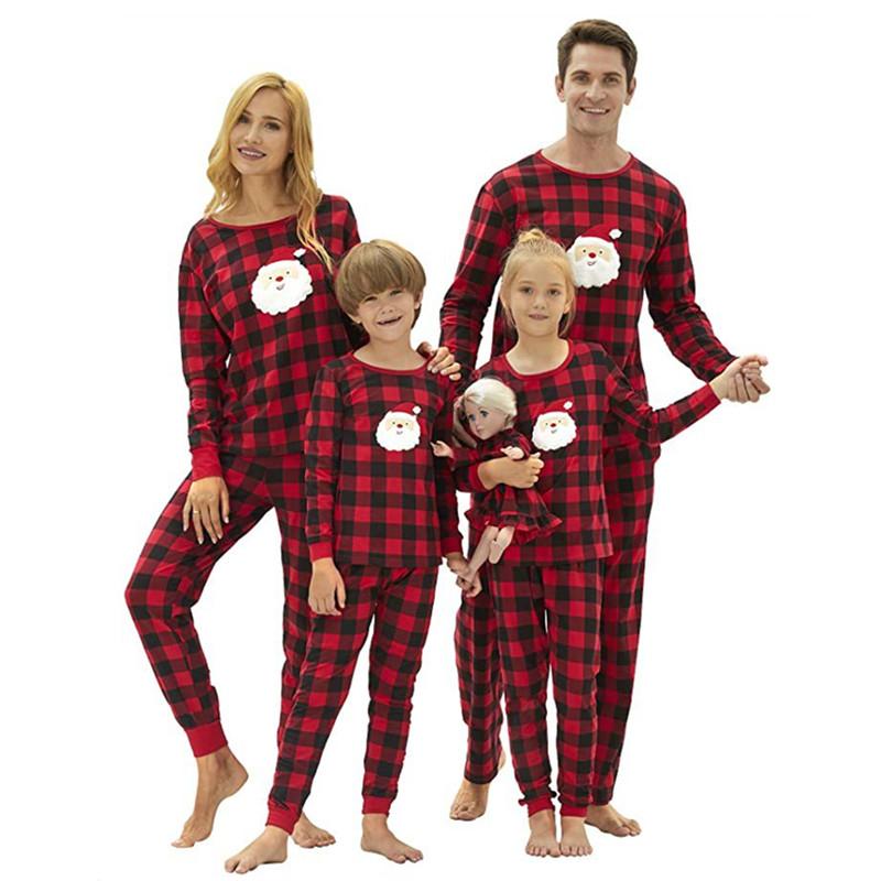 Christmas Family Matching Pajamas Christmas Santa Claus Top and Red Plaids Pant