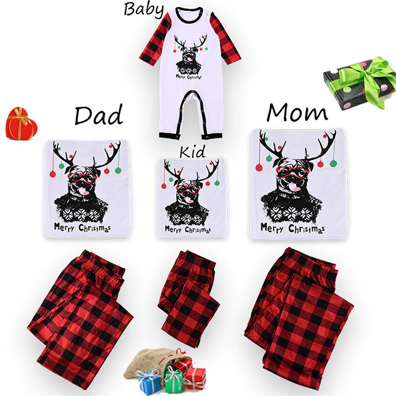 Christmas Family Matching Pajamas Christmas Antler Top and Red Plaid Pants