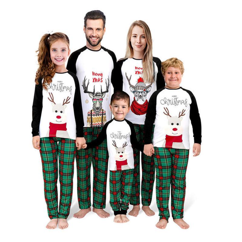 Christmas Family Matching Pajamas Christmas Deer Elk Slogan Top and Green Plaids Pant Sets