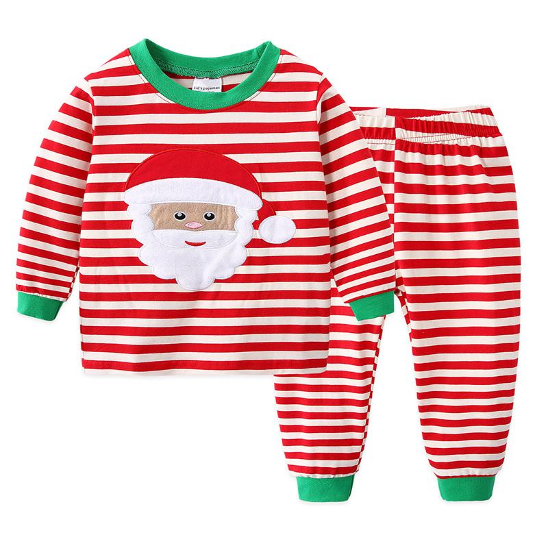 Toddler Kids Boys and Girls Christmas Pajamas Sets Red Striped Santa Claus Top And Pants