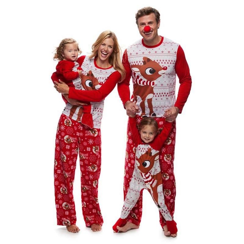 Christmas Family Matching Pajamas Christmas Red Vivid Deer Christmas Pajamas Sets