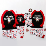 Christmas Family Matching Pajamas Merry Christmas Santa Claus Top and Deers Trees Pants