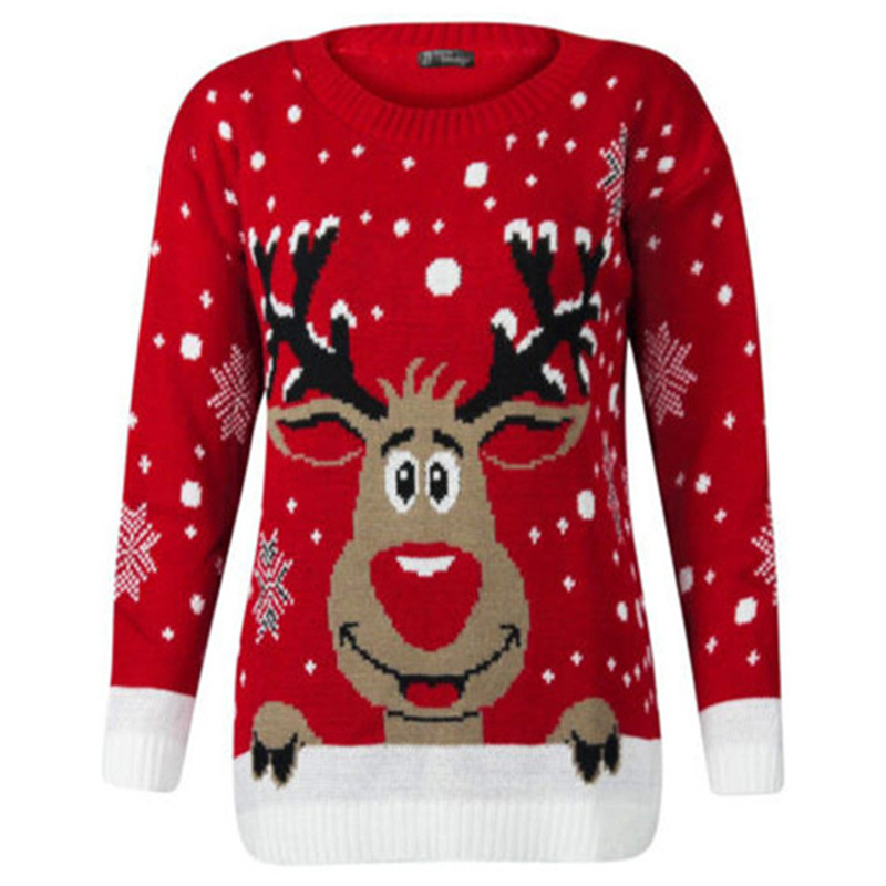 Women Ugly Christmas Sweater Snowflake Elk Pullover Sweater