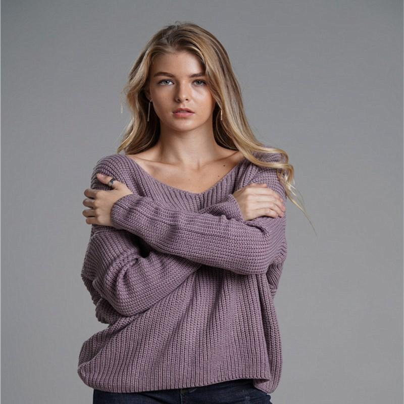 Women Knit Sweater Round Neck Pullover Open Back Cross Sweater