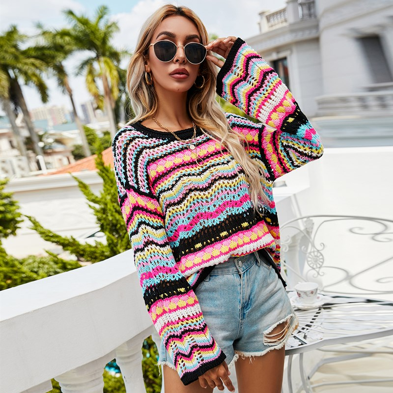 Women Colorful Blocked Knitted Hollow Out Sweater
