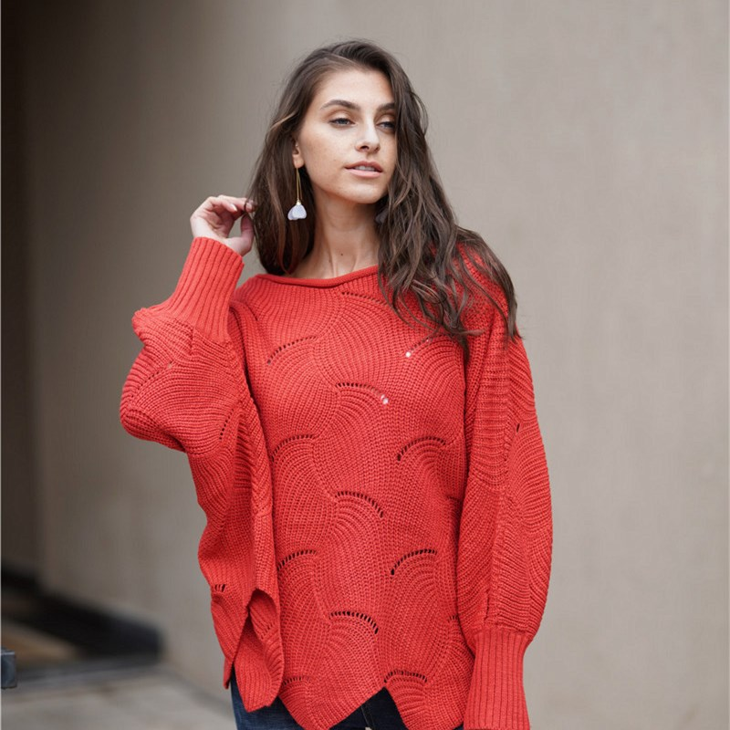 Women Loose Solid Color Pullover OL Knitted Round Neck Sweater