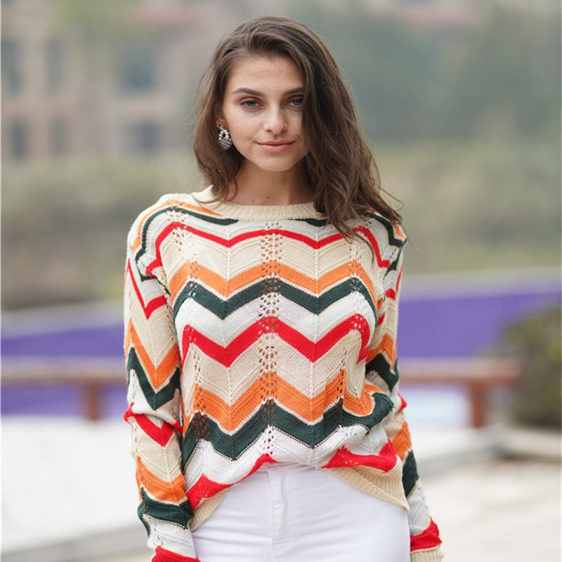 Women Color Matching Striped Pullover Sweater