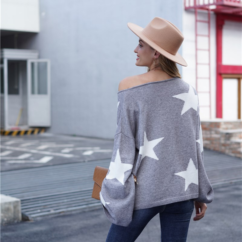 Women Five-Pointed Star Sweater Geometric Pullover Loose Sweater