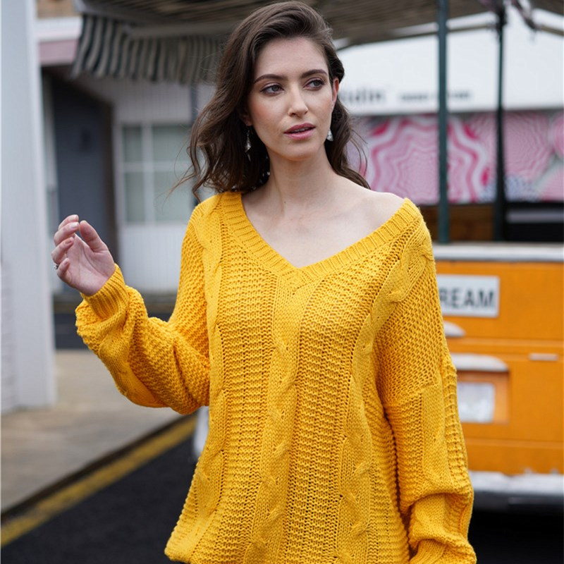 Women OL Sweater Twisted Rope Pure Color Loose Round Neck Sweater