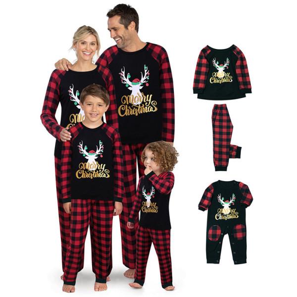 Christmas Family Matching Pajamas Sets Elk Slogan and Red Plaid Sets