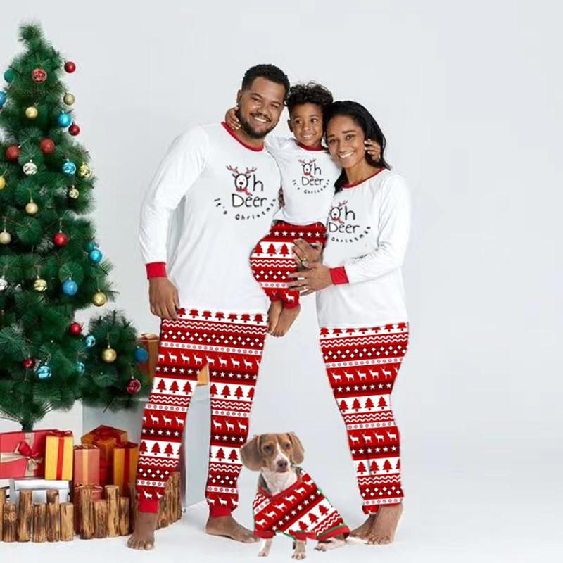 Christmas Family Matching Sleepwear Pajamas OH Deer Slogan Christmas Pajamas With Dog Cloth