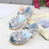Kid Girls Sequins Diamond Frozen Princess Open-Toed High Pumps Sandals Dress Shoes