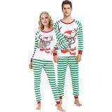 Christmas Family Matching Sleepwear Pajamas Christmas Hat Antler Slogan Tops And Stripe Pants
