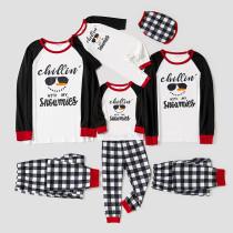 Christmas Family Matching Sleepwear Pajamas Sets Chillin Snowmies Slogan Cool Snowman Tops And Plaids Pants
