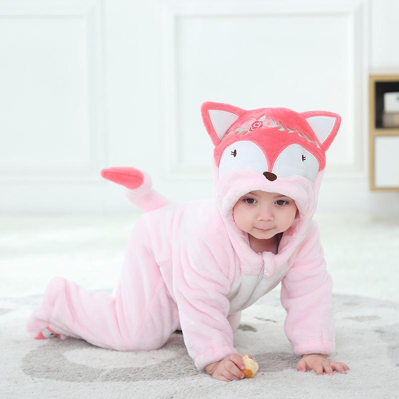 Baby Pink Embroidery Fox Onesie Kigurumi Fannel Pajamas Cute Animal Costumes