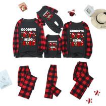 Christmas Family Matching Pajamas Goodbye 2021 Hello 2022 Top and Red Plaids Pant