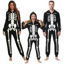 Halloween Family Matching Pajamas Cosplay Costume Cozy Skeleton Print Zip Up Hoodie Jumpsuits Romper
