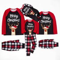 Christmas Family Matching Sleepwear Pajamas Sets Hat Deer Merry Christmas Slogan Plaids Sets